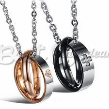 Heart & Cross Lovers Necklace,Couple Interlocking CZ 18KGP Ring Pendant Necklace
