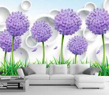 3D Purple Dandelion 8 Wall Paper Murals Wall Print Wall Wallpaper Mural Au Lemon