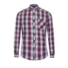 Merc London hombre manga larga camisa de cuadros - Frank Rojo/Azul