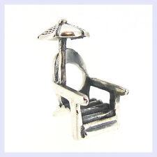 Sterling Silver Beach Chair Umbrella Sand Ocean Bead for European Charm Bracelet