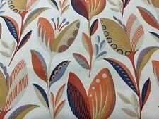 Leon Deco Flowers Orange Blue Cotton 140cm wide  Curtain Fabric