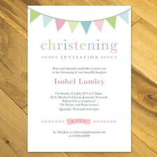 Personalised Boy / Girl Christening / Baptism / Naming Day Invitations bunting