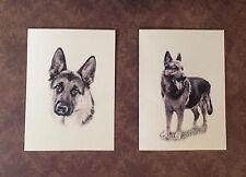 Set of 12 Handmade Blank German Shepherd Dog Print Note Cards