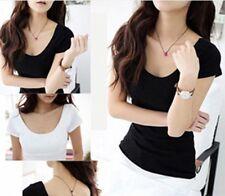 Fashion Womens Women Modal Short Sleeve Scoop Tshirt Top Tee Black White sizes