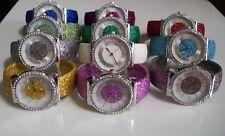 Silver finish Rhinestones/Glitter band bangle cuff fashion women's dressy watch
