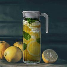 Water Juice JUG Pitcher GLASS BOTTLE Cocktail Fridge Kitchen Home Picnic Lid