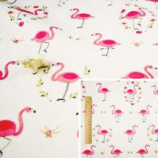 PINK WHITE Fat Quarter/Meter/FQ Cotton Craft Quilt Fabric Flamingo Floral Wreath
