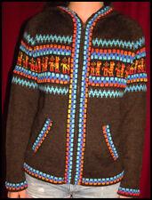 eine Strickjacke braun bunt Ethnomuster Damenjacke Alpakawolle Gr. M oder L NEU