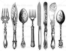 Furniture Decalcomania Trasferimento VINTAGE Francese Parigi CASA posate coltello cucchiaio fai da te