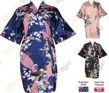 Premium Quality Satin Robes Silk Soft Peacock & Cherry Blossom Kimono