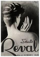 PUBBLICITA' 1943 SMALTO PER UNGHIE REVAL MILANO DONNA MANI GINO BOCCASILE NIAL