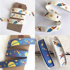 Space Rocket Planet Blue & Cream Kids Ribbon 16mm - 1M - Full 25m roll - Crafts