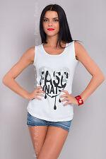Ladies White Vest Top Love Print Sleeveless Cotton T-Shirt Sizes 8-14 FB45-3