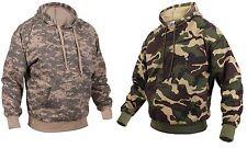 Camouflage Fleece-Lined Pullover Hooded Sweatshirt - ACU or Woodland Camo Hoodie
