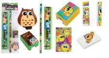 Kids Pencil Ruler Eraser Sharpener Set Children School Stationery Fun Design New
