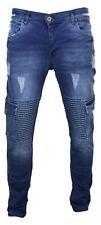 Jeans homme coupe slim bleu indigo style délavé déchiré poches latérales biker