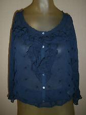 Womens Abercrombie & Fitch M Medium Top Blouse Shirt Ruffle Navy Blue 3/4 Sleeve