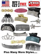 Fashion Crystal Rhinestone Hair Clip Barrette Claw Clip Hairpin Women Girl Style