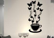 wkf28 WandTattoo Wandsticker WandSpruch CAFE COFFEE KAFFEE  KÜCHE schmetterling