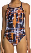 SPEEDO Laser Sticks Fly Back Navy Blue Orange White Swim Suit Womens Girls 0 26