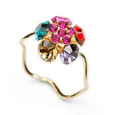 18K GOLD GP Unique Multicolour stone Bent Ring SF95359 Made with SWAROVSKI