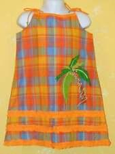 NWT MICHAEL SIMON Orange Check Plaid Ruffles Palm Tree Dress Hat 2pc Set 6