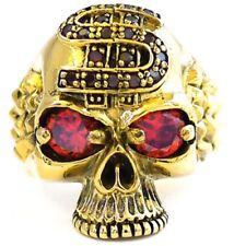 DOLLAR SKULL RED-ORANGE GARNET EYES GOLD BRASS MEN RING PUNK BIKER