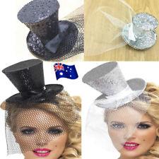 Mini Glitter Top Hat Headband Ladies Veil Burlesque Hen Night Party Fancy  MN