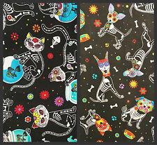 Sugar skull dogs & cats fabric, skeletons unusual flowers pets black bones