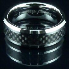 Mens Tungsten Carbide Ring Black Carbon Fiber Band Wedding Engagement Gift