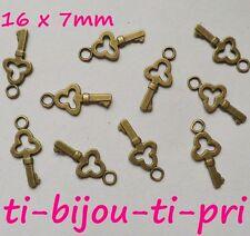 LOT de 20 PENDENTIFS BRONZE perles breloque CLES CLEFS 16mm création bijoux