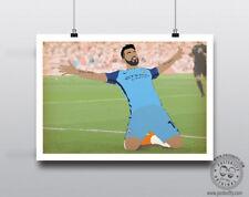 Sergio Agüero Minimalista Manchester Futbol arte cartel mínima posteritty