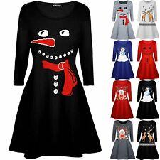 Kids Children Xmas Christmas Girls Carrot Nose Snowman Costume Print Swing Dress