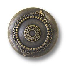 5 antik wirkende altmessingfarbene Metallknöpfe mit edlen Ornamenten (5944am)