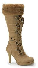 Boot Hunter 200 Adult Women's Faux Fur & Tan Microfiber Boot Heel Ellie Shoes