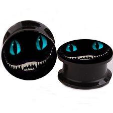 "PAIR Cheshire Cat Ear Gauges Ear Plugs Flesh Tunnel Acrylic SCREW 6g - 5/8"""