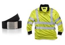 Standsafe Reflective Hi Vis  Work Polo Long Sleeve Tshirt Yellow FREE BELT
