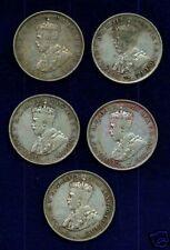 AUSTRALIA  GEORGE V  1923  1 FLORIN SILVER COINS   (5)
