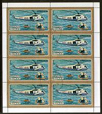 Ajman 1971 Apollo 15 hélicoptère de sauvetage valeur 1ri Sheetlet DE 8 TIMBRES CTO