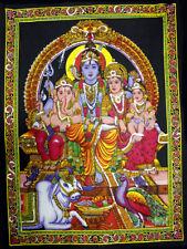 Shiva Family Ganesha & Parvati Sequin Wall Hanging Tapestry Hindu Home Decor Art