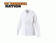 Dickies Ladies Long Sleeve Oxford Work Shirt,Printing Embroidery Logo White