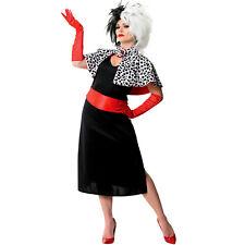 Cruella De Vil Disney Costume Womens Adult Ville Licensed 101 Dalmations inc Wig
