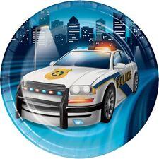 Coche de policía de la policía     Insignia City 18 cm placas de papel de Fiesta Pastel De Postre   1-48pk