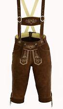 Pantalon Cuir Homme en traditionnel Bretelles Neuf Broderie marron taille 46-62
