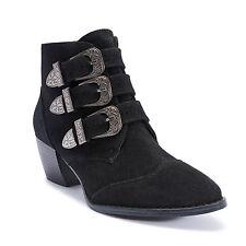 Truffle New Black Suede Margi Ladies Vegan Block Buckle Low Heel Boot