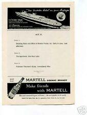 Martell Cognac Brandy 1950's Original Vintage Ad
