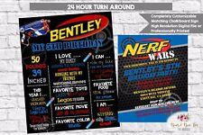 Nerf Birthday Digital Invitation and Chalkboard Sign