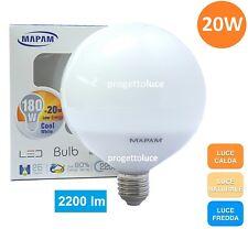 LAMPADINA LED E27 20W GLOBO BULB G120 CALDA NATURALE FREDDA MAPAM
