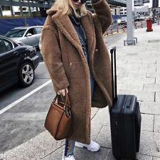Womens Winter Coats Teddy Bear Feel Fur Long Oversized Luxury Thick Maxi Jackets