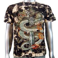 Chinese Dragon Animal Dagger Sword Body Piercing Stud Tattoo Mens T-shirt M & L
